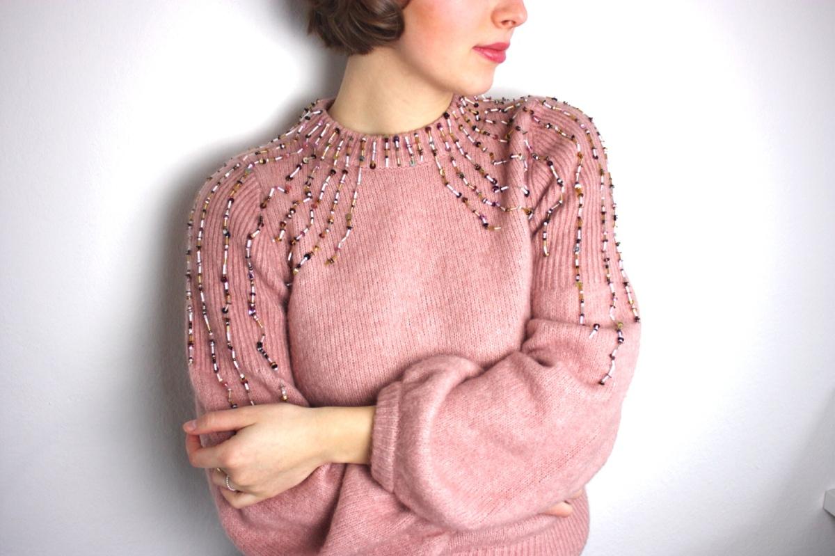 DIY Fashion: Perlen- und Pailletten-bestickter Pullover